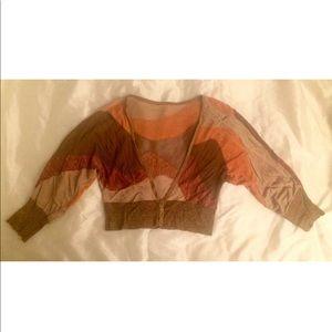 Bebe cropped color block vest L